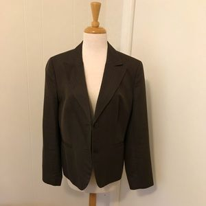 Ann Taylor Loft Brown pinstripe blazer 14 jacket